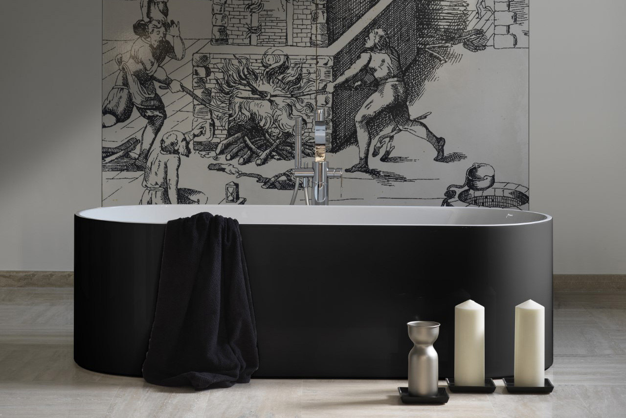 """La vascaè la culla della sala da bagno. Un esempio? Oval di <a href=""""http://www.ceramicaflaminia.it"""">Ceramica Flaminia</a> che,in Pietraluce, resiste all'usura"""