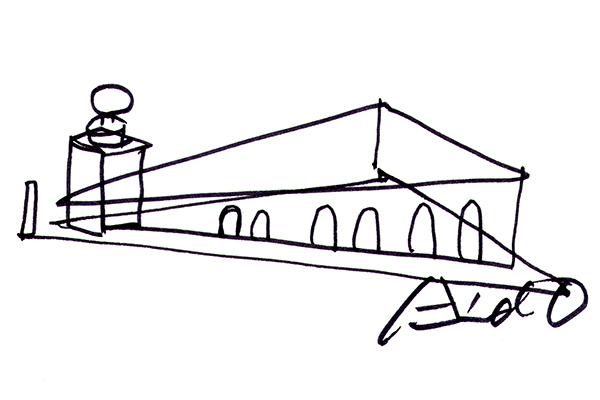 Punta della Dogana in uno schizzo dell'architetto Tadao Ando