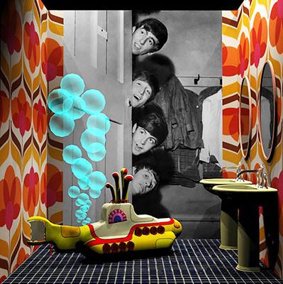 Al padiglione 30 della fiera è stata allestaita la consueta esposizione collettiva che racconta le eccellenze del made in Italy. La rassegna firmata da Angelo Dall'Aglio e Davide Vercelli quest'anno s'ispira ai <em>Famous Bathrooms</em>, ovvero immagina gli ambienti bagno delle case di alcuni personaggi che hanno fatto la storia. Come quello dei Beatles (in foto)