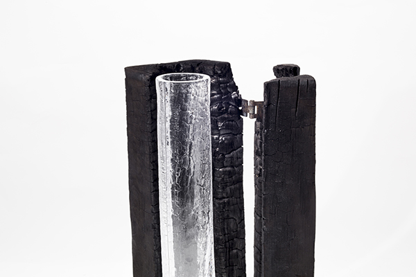 <em>III PREMIO</em> - KATERINA KROTENKO, Russia<BR> SHAPED BY FIRE: Collezione di vasi in vetro con struttura in legno che mette in scena il movimento nel tempo, la metamorfosi estetica e il ricordo. Rievocando tecniche degli anni Sessanta, il progetto esplora la serendipità creativa suggerita dai materiali, allorché il vetro caldo fuso cattura i minuscoli dettagli del legno che brucia dando, così, origine a un'organica unione di superficie e forma.<BR> <em>Motivazione: un progetto ispirato alla tradizione scandinava del legno e del vetro</em>