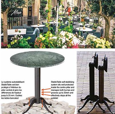 Il tavolino per esterni StableTable di Scandinavia ABsi caratterizza per una base auto-stabilizzante chesi adatta automaticamente alle irregolarità dei terreni. Il progetto vince l'Innovation Smart Label