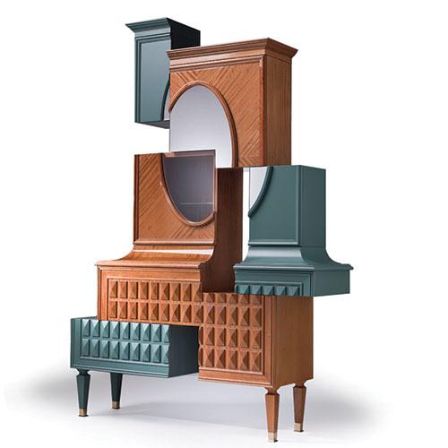 """Forme scomposte, come in un quadro cubista, nel trumeau D/Vision.2 di <a href=""""http://www.fratelliboffi.it"""">Fratelli Boffi</a>: un pezzo a cavallo con l'arte disegnato da Ferruccio Laviani. Personalizzabile con mobile bar"""