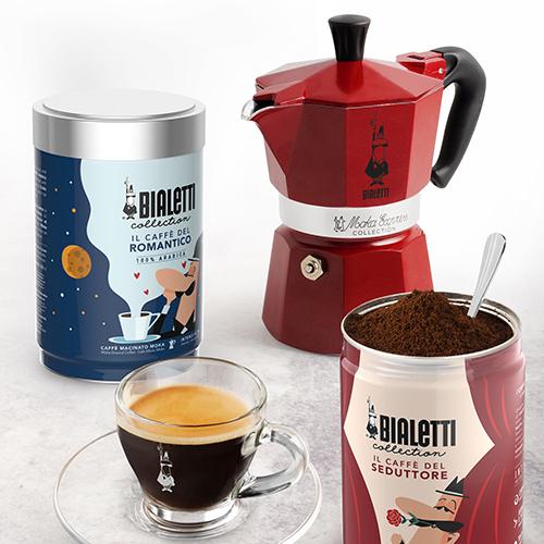 """La <a href=""""https://www.bialetti.it/it_it/"""">Bialetti</a> Collection in edizione limitata dedicata agli innamorati comprende miscele di caffè, accessori e strumenti per la cucina"""