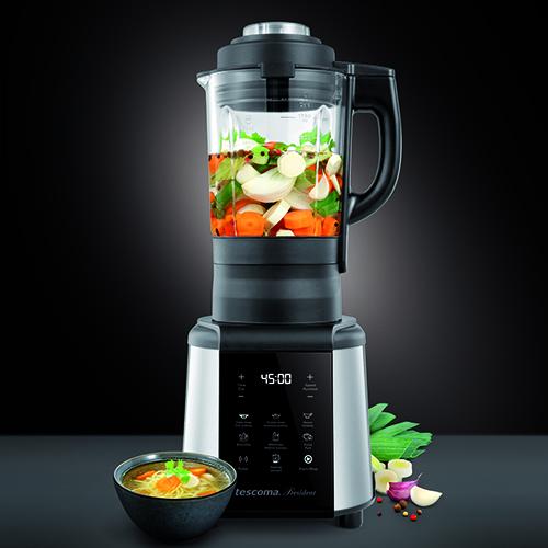 """Il robot per zuppe e creme di <a href=""""https://www.tescomaonline.com/"""">Tescoma</a>: tra le numerosefunzioni anche quella che</span><span class=""""s1"""">permette di riscaldare il cibo"""