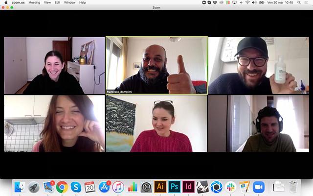 Nichetto in una recente riunione video con i suoi collaboratori svedesi e italiani