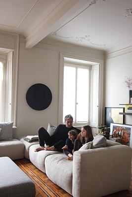 Leonardo Dainelli con i figli, Bianca di otto anni e Teo di due