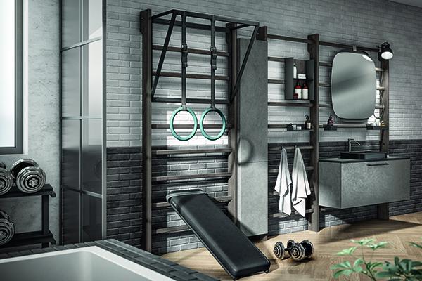 """Se non si ha spazio nel living, è possibile sfruttare il bagno, come nel progetto Gym Space di Mattia Pareschi per <a href=""""https://www.scavolini.com/"""">Scavolini</a>, un sistema di arredo modulare composto da una struttura che reinterpreta la spalliera svedese, alla quale agganciare elastici, panche e trx, disponibile in 3 diversi formati da 70, 90 o 120 cm, anche per i bagni più contenuti"""