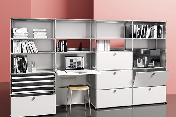 Il sistema di arredamento modulare Haller  può essere personalizzato all'infinito grazie alle numerose soluzioni di scaffalatura, archiviazione e vani a vista
