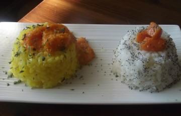 Duetto di risotti con crema di zucca  agrodolce