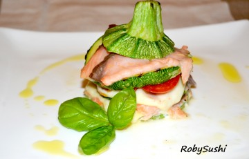 Millefoglie zucchine e salmone in sole 5 mosse