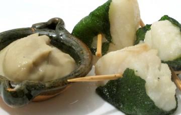 Bocconcini di baccalà fritti con crema di ceci