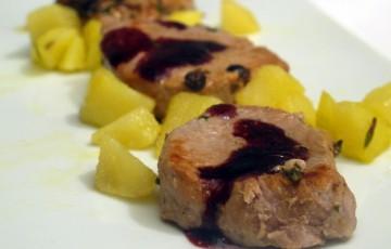 Filetto di maiale al vino rosso e patate
