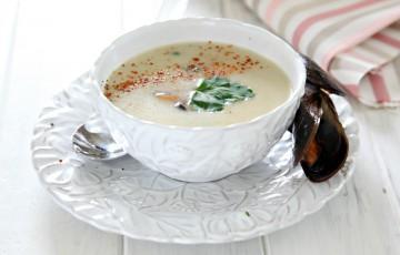 Crema di topinambur con cozze