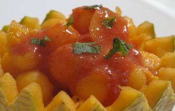 Melone con coulis di fragole