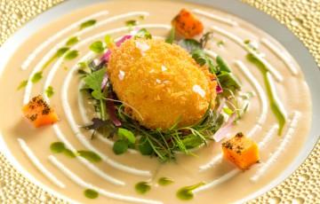 Pank-ovo, crema di porcini e miso rosso