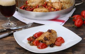 Pollo con pomodorini al forno