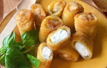 Paccheri ripieni di ricotta e mozzarella fritti
