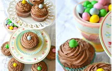 Double chocolate cupcakes coffee