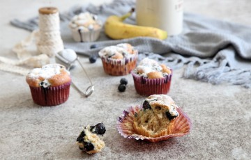 Muffin banana e mirtilli