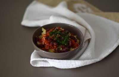 Bulgur con fagioli e pomodorini