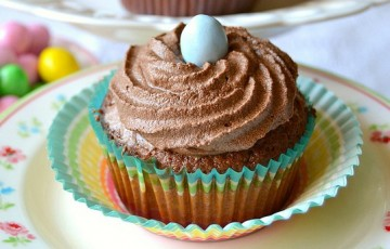 Double chocolate cupcakes coffee