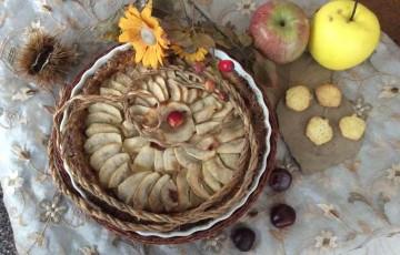 Crostata con purea di mele e crema di nocciola