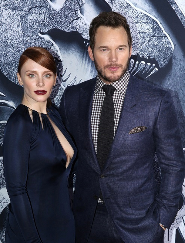 """Bryce Dallas Howard, left, and Chris Pratt arrive at the Los Angeles premiere of """"Jurassic World"""" at the Dolby Theatre on Tuesday, June 9, 2015. (Photo by Matt Sayles/Invision/AP)"""