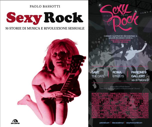 """La copertina del libro e il poster della mostra """"Sexy Rock"""""""