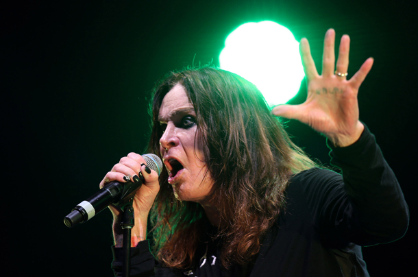 """Musician Ozzy Osbourne, singer of British band Black Sabbath, during concert of their world tour, """"The Reunion Tour"""", in Sao Paulo, Brazil, on October 11, 2013. Photo by: JF DIORIO/picture-alliance/dpa/AP Images"""